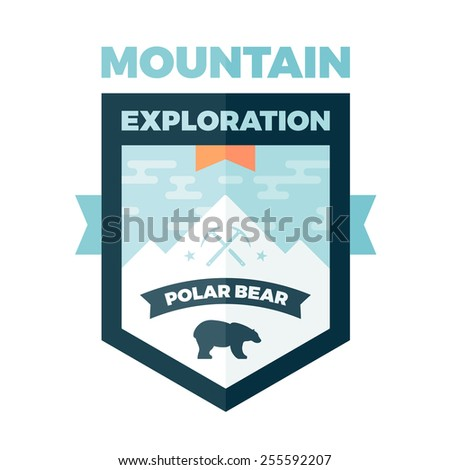 Mountain and polar bear badge graphic emblem - stock photo