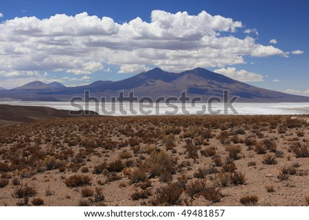 Mountain and salt flat in Bolivia - stock photo