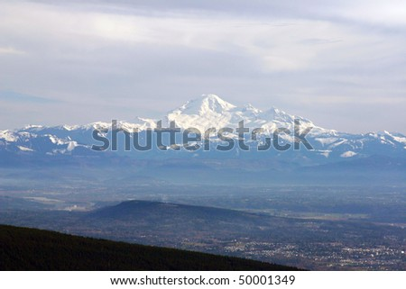 Mountain baker view from winter hiking. - stock photo