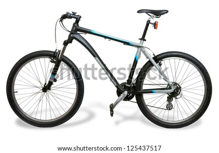 Mountain bicycle bike with shadow isolated on white background - stock photo