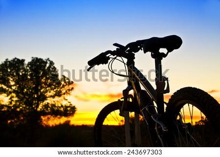 mountain bike at sunset - stock photo