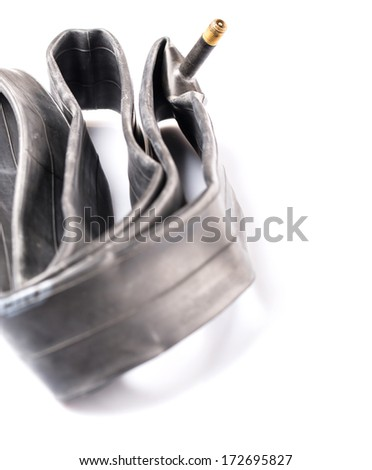 Mountain bike inner bicycle tube flat without air - stock photo