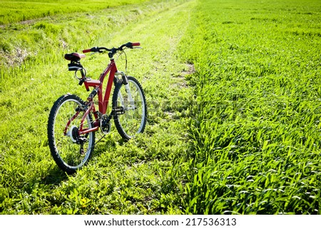Mountain Bike on country road - stock photo