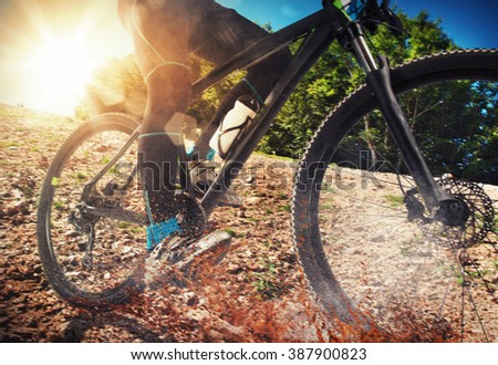 Mountain bike on ground - stock photo