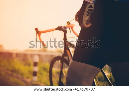 Mountain Bike riding single track at sunrise healthy lifestyle a - stock photo