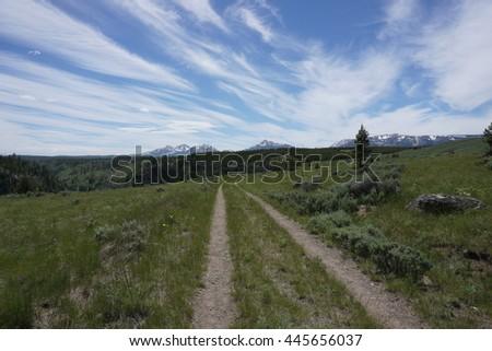 Mountain Bike Trail, Yellowstone - stock photo
