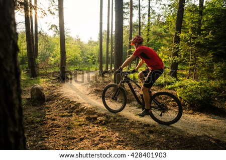 Mountain biker riding on bike in spring inspirational mountains landscape. Man cycling MTB on enduro trail path. Sport fitness motivation and inspiration. Rider mountain biking in fall woods. - stock photo