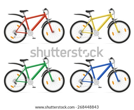 mountain bikes with gear shifting illustration isolated on white background - stock photo