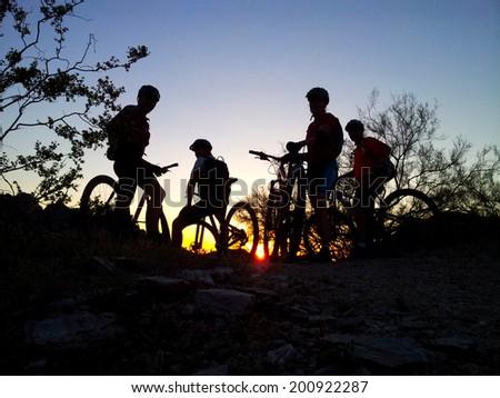 Mountain biking in the Sonoran Desert - stock photo