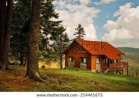 Mountain cabin - stock photo