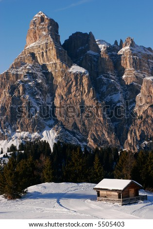 Mountain cabin in the Dolomites - stock photo