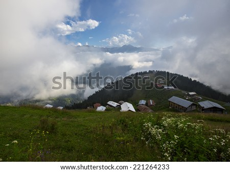 mountain chalet - stock photo