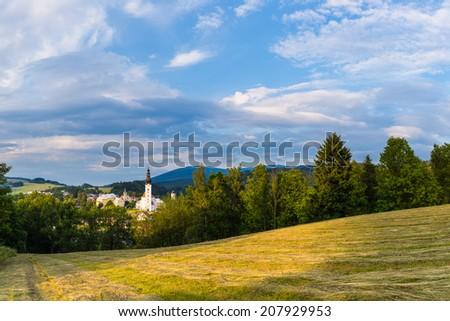Mountain church scenery, Jeseniky - stock photo