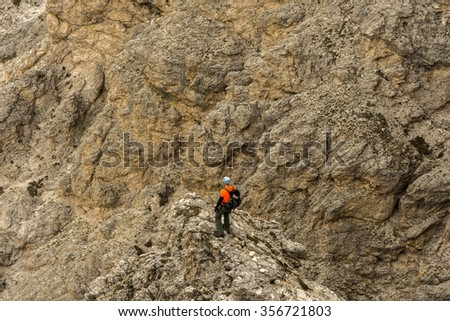 Mountain climbing in the Dolomites. Alps - stock photo