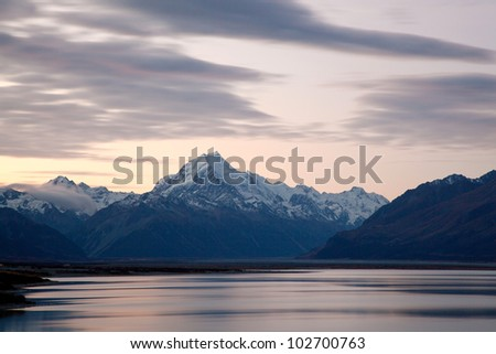 Mountain Cook and Lake Pukaki New Zealand at Dusk - stock photo
