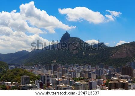 Mountain Corcovado Christ the Redeemer with clouds, Rio de Janeiro, Brazil. Selective focus - stock photo
