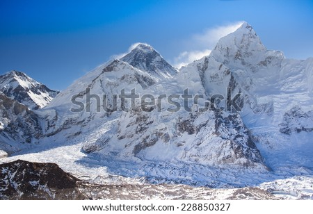 Mountain Everest, Gokio Ri in Himalayas, Nepal - stock photo