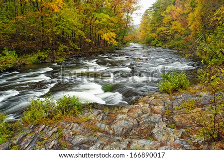 Mountain Fork River at Beaver's Bend State Park II - stock photo