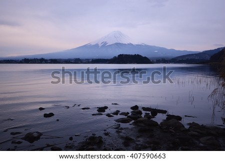 Mountain fuji and lake kawaguchi, Japan - stock photo