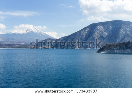 Mountain fuji and lake Motosu - stock photo