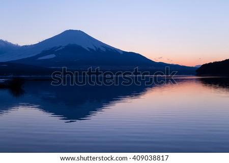 Mountain Fuji at sunset - stock photo