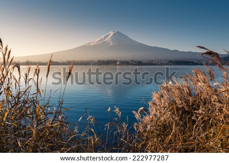 Mountain Fuji in morning from lake kawaguchiko - stock photo