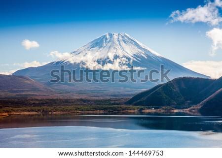 Mountain Fuji in winter - stock photo