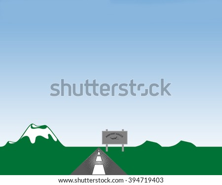 Mountain highway rolling hills and billboard sign of airport ahead illustration. - stock photo
