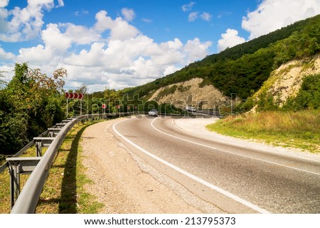 Mountain Highway  with abrupt turns - stock photo