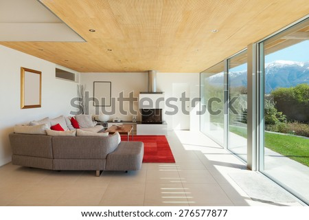 mountain house, modern architecture, interior, living room - stock photo