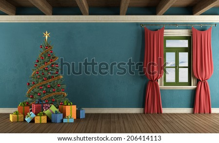 Mountain house with Christmas tree, gifts and window with red curtains - rendering - stock photo
