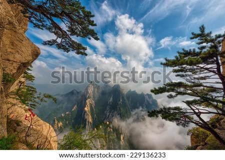 mountain hua, xian, china - stock photo