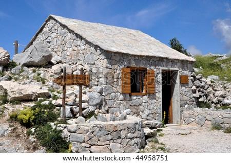 Mountain hut in Biokovo - stock photo