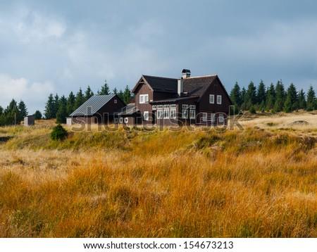 Mountain hut in Jizera mountains (Czech Republic) - stock photo