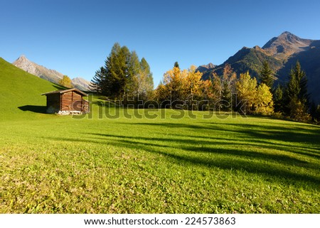 Mountain hut on the autumn forest glade - stock photo