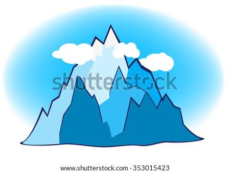Mountain illustration - stock photo
