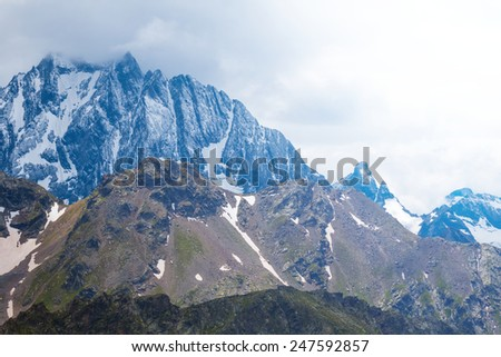 mountain in a clouds - stock photo