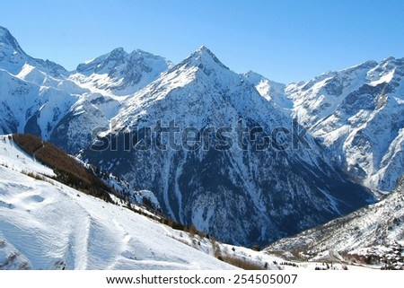 Mountain in the Alps, Les Deux Alpes, France - stock photo