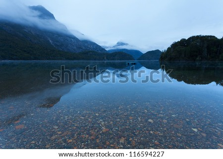 Mountain Lake after sunset - stock photo