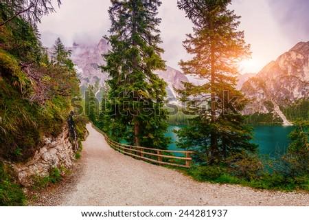 Mountain lake between by mountains  - stock photo