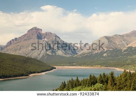 Mountain Lake, Glacier National Park - stock photo