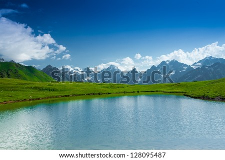 Mountain lake in Caucasus mountains in Svaneti Georgia - stock photo