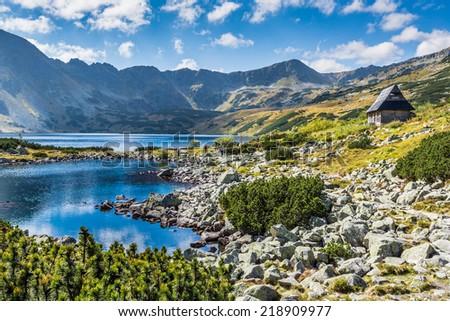 Mountain lake in 5 lakes valley in Tatra Mountains, Poland. - stock photo