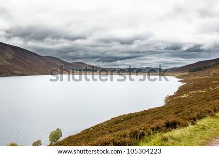 mountain lake in Scotland - Loch Muick - stock photo