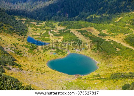 Mountain lake landscape in Ukraine Carpathians, Svydovets ridge - stock photo