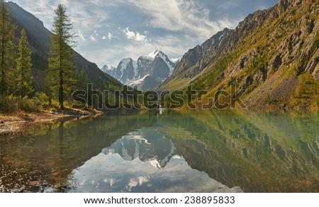 Mountain lake, Russia, West Siberia, Altai mountains, Chuya ridge. - stock photo