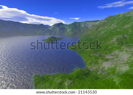 mountain lake scenery - stock photo