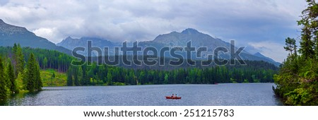 Mountain lake Strbske Pleso in High Tatras, Slovakia - stock photo
