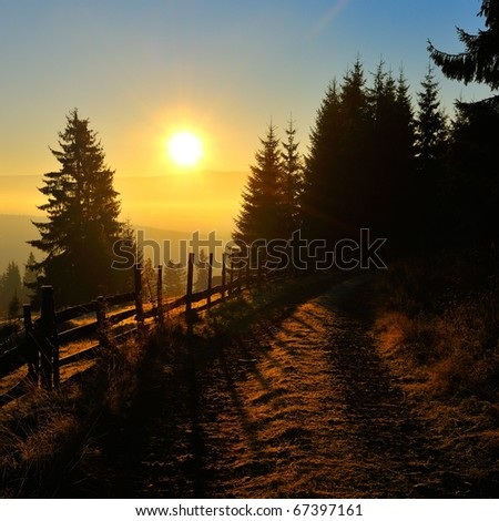 mountain landscape at dawn - stock photo
