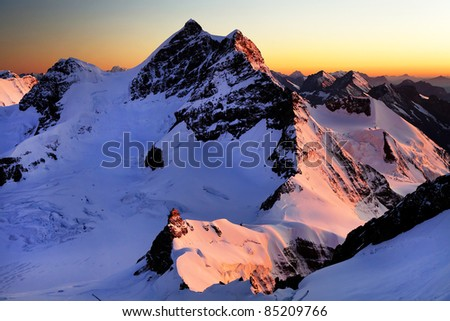 Mountain landscape, Berner Oberland, Switzerland - UNESCO Heritage - stock photo